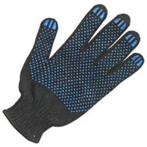 Перчатки хб черные с ПВХ Точка, Волна 10 класс (50 гр/п)